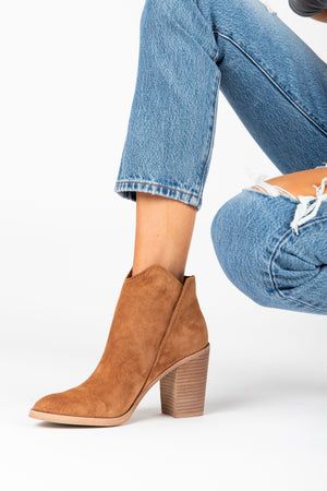 Dolce Vita: The Shep Booties in Brown, studio shoot; side view