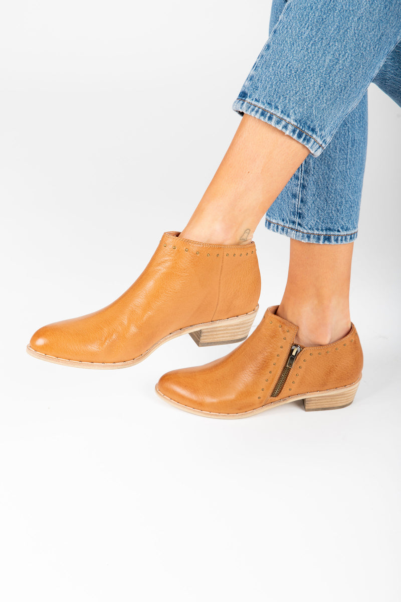 Silent D: The Luverne Bootie in Dark Tan Leather, studio shoot; side view