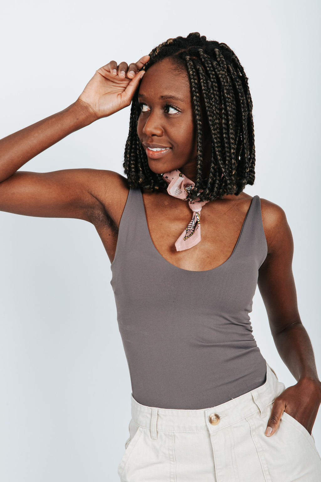 The Melora Tank in Charcoal, studio shoot; front view