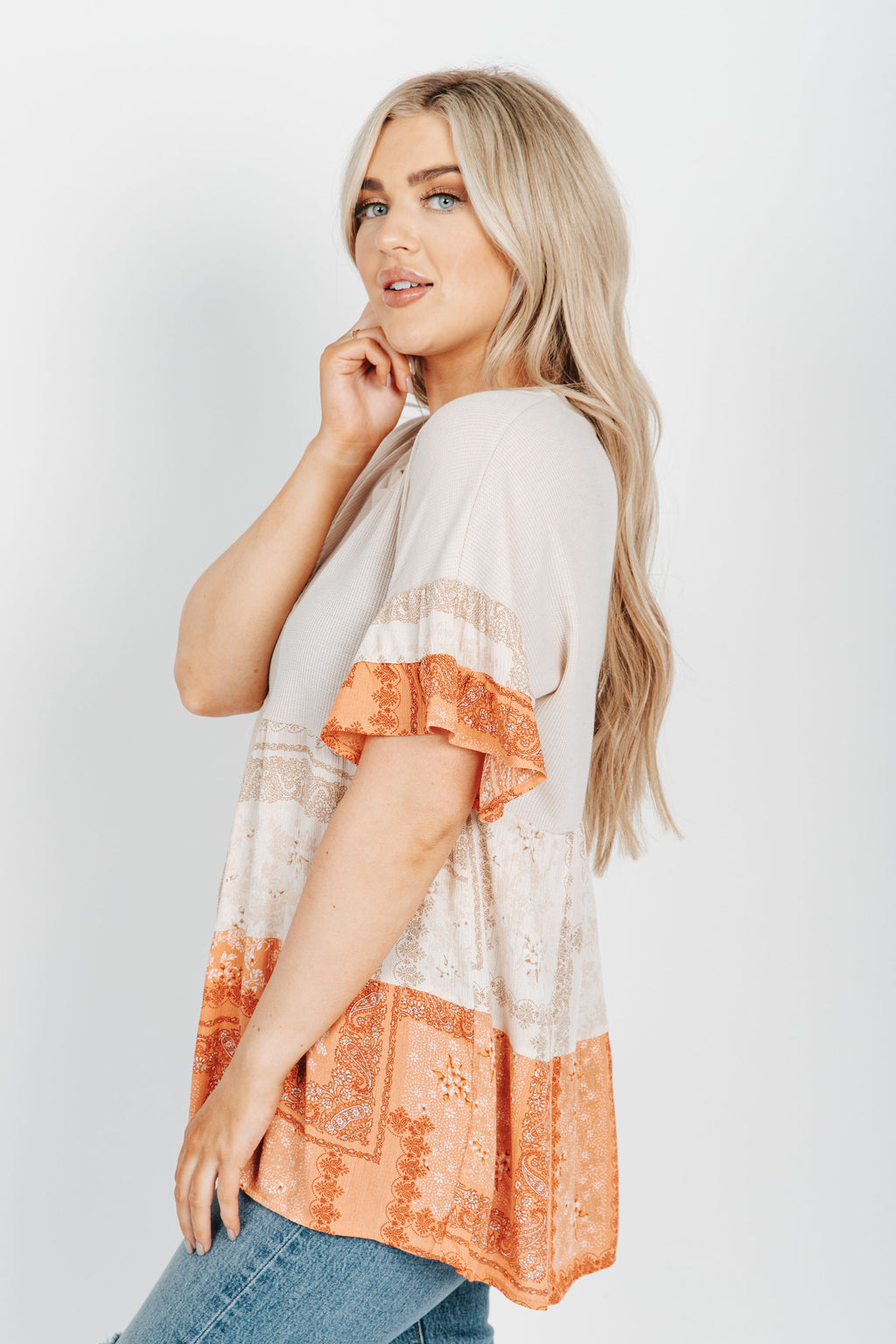 The Moonie Patterned Blouse in Taupe, studio shoot; side view