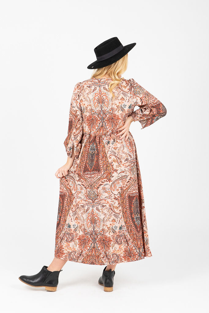 The Olmsted Paisley Patterned Midi Dress in Rust