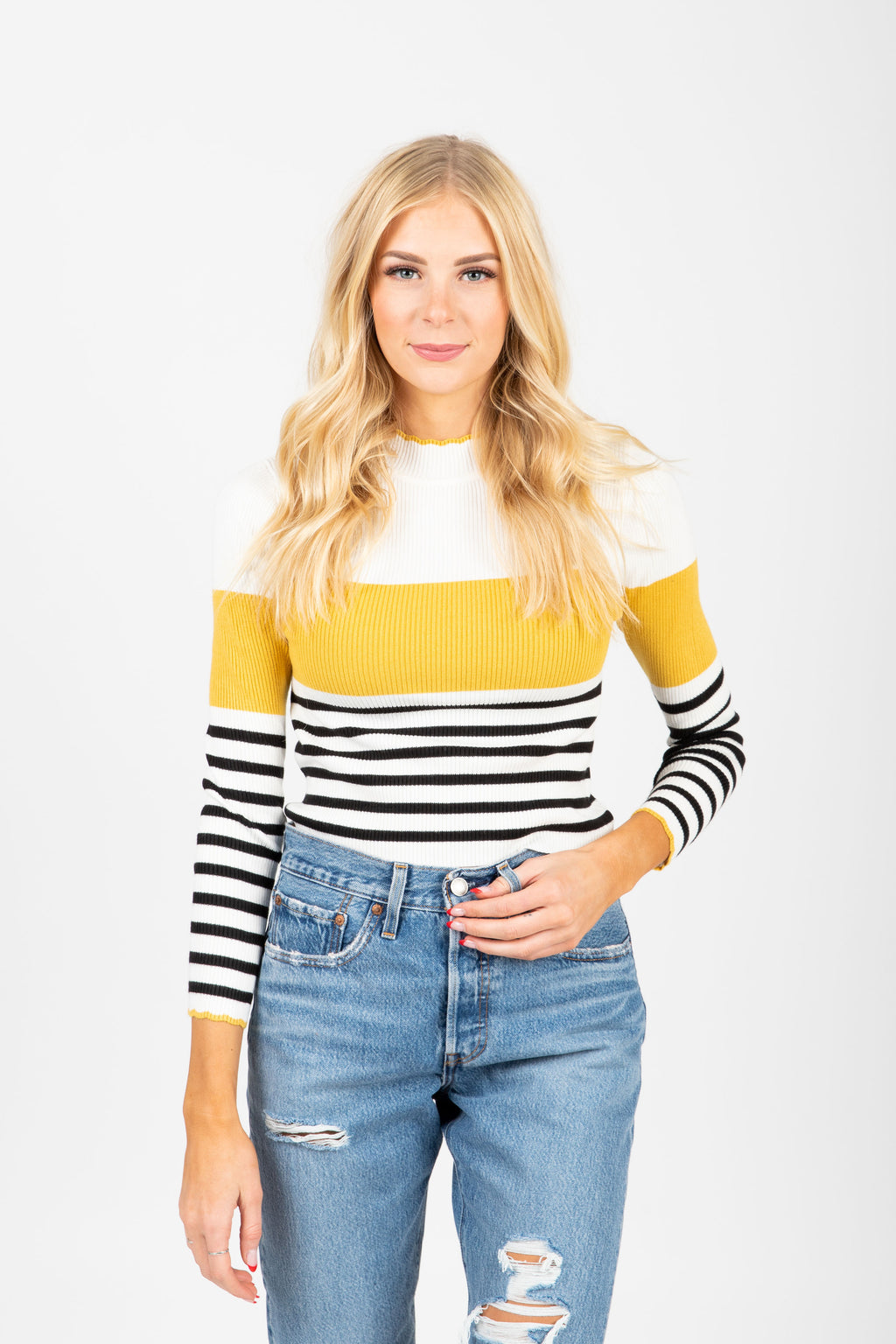 The Covet Striped Sweater Blouse in Mustard, studio shoot; front view