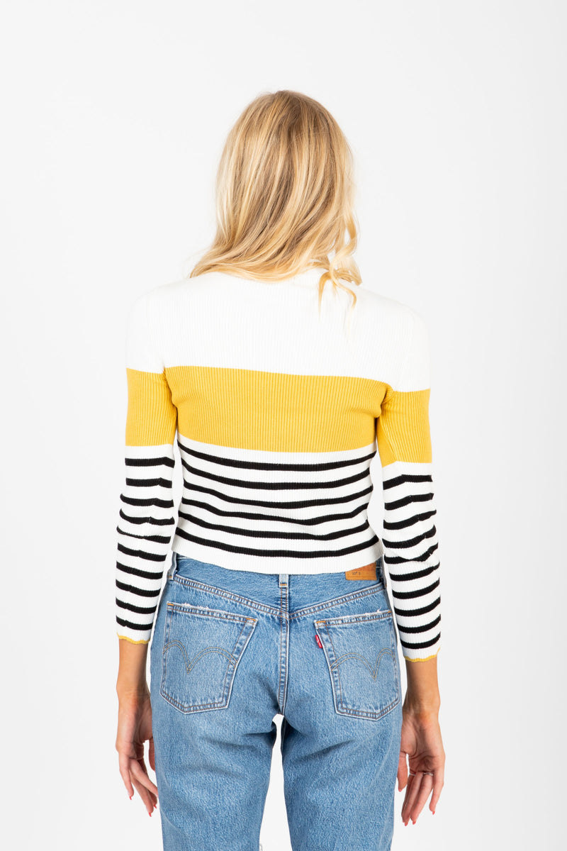 The Covet Striped Sweater Blouse in Mustard, studio shoot; back view