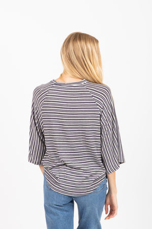 The Morla Striped Twisted Blouse in Charcoal