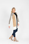 The Debby Block Cardigan in Heathered Grey + Camel