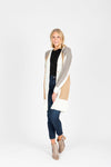 The Ripple Long Button Cardigan in Heather Grey