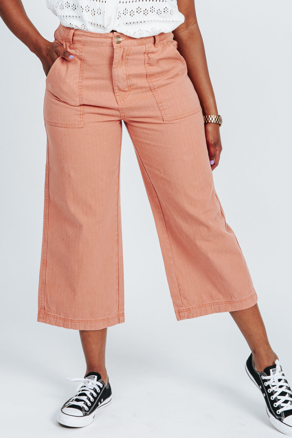The Gwen Wide Leg Pant in Ginger, studio shoot; front view
