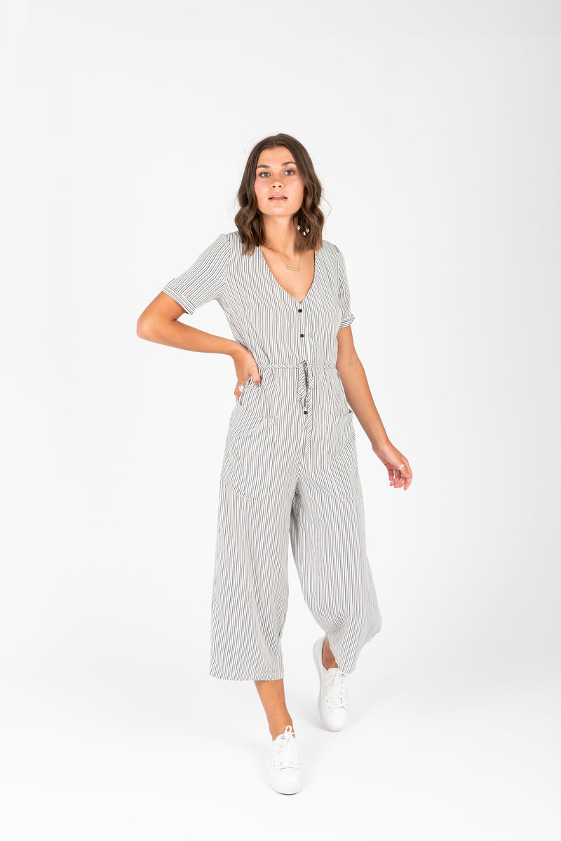 The Darwin Striped Jumpsuit in Ivory + Black