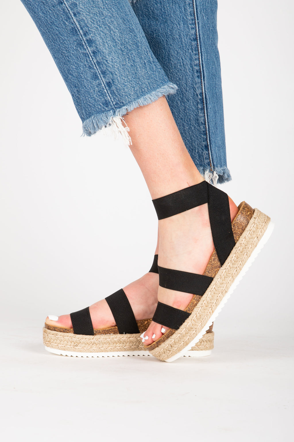 Steve Madden: Kimmie Sandal in Black, studio shoot; front view