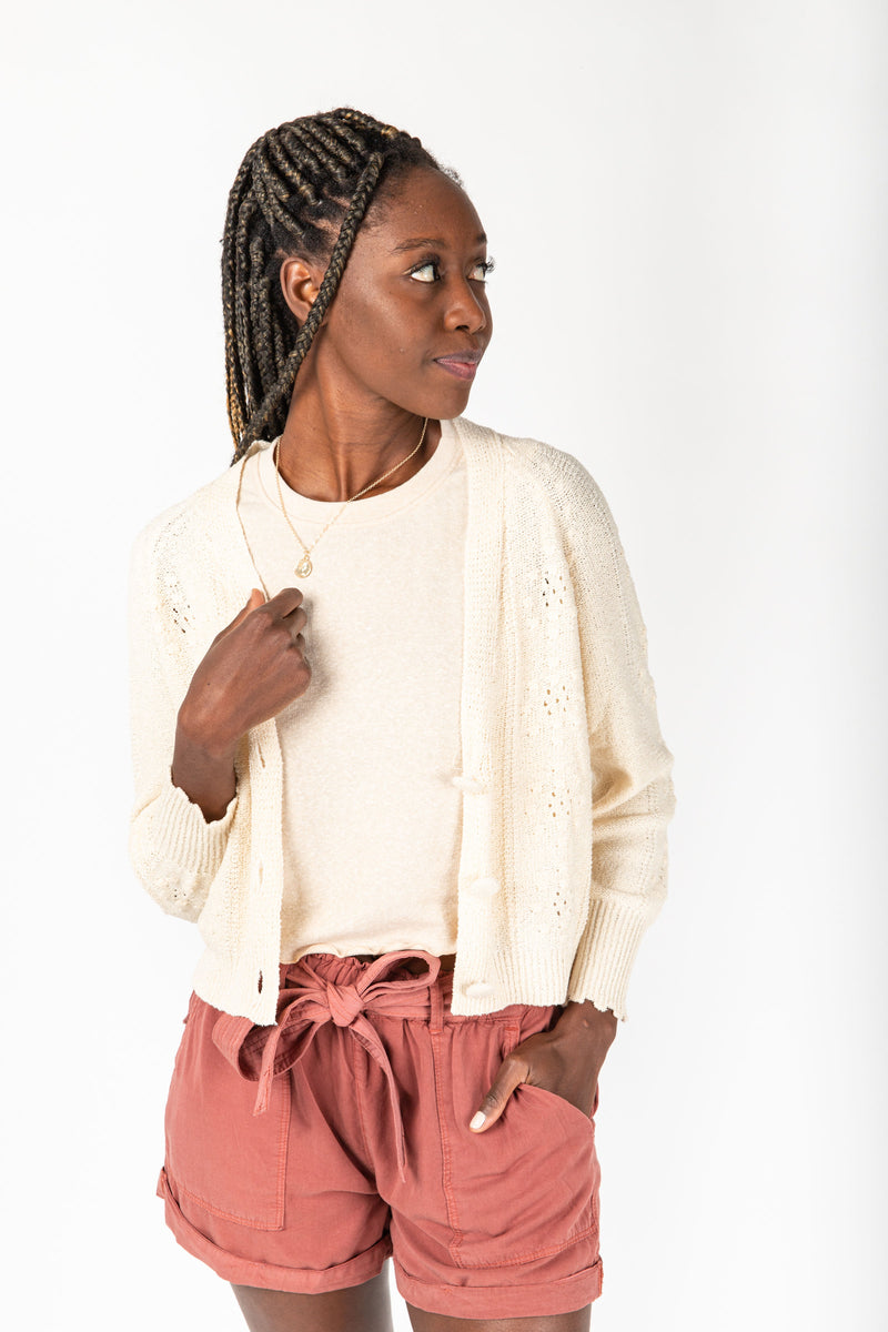 The Jessica Button Down Cardigan in Natural, studio shoot; front view
