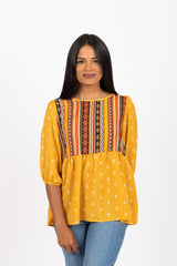 The Admire Patterned Empire Blouse in Mustard