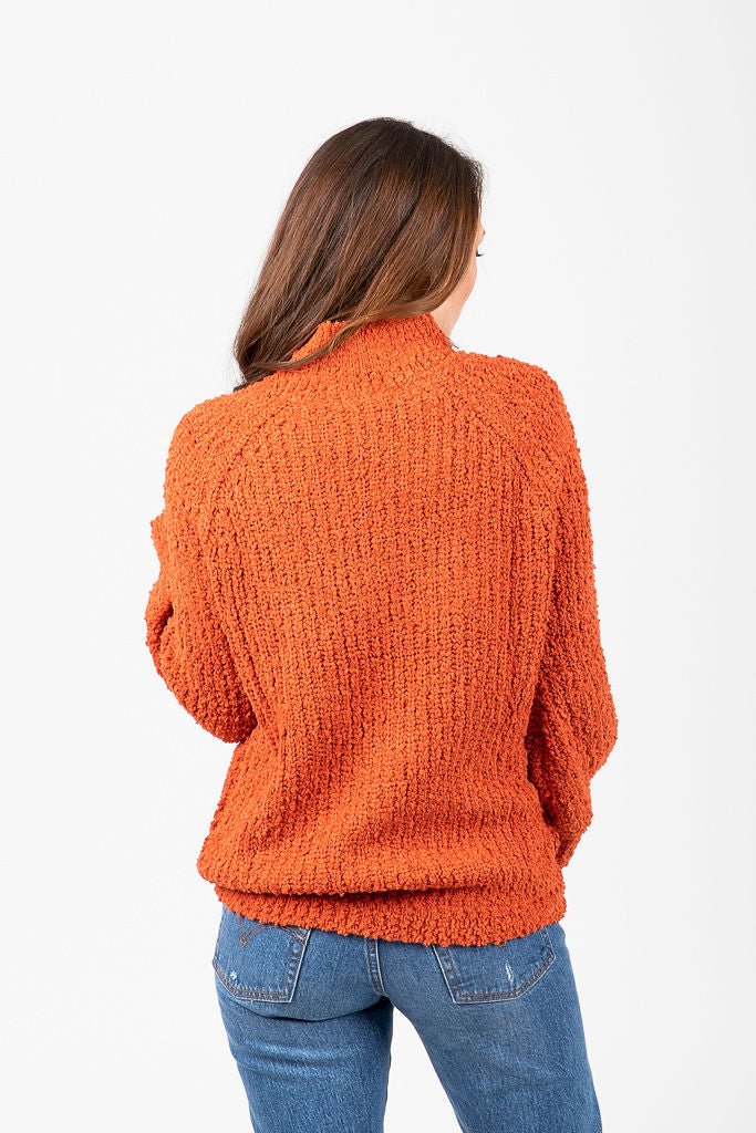 The Moberly Knit Mockneck Sweater in Rust