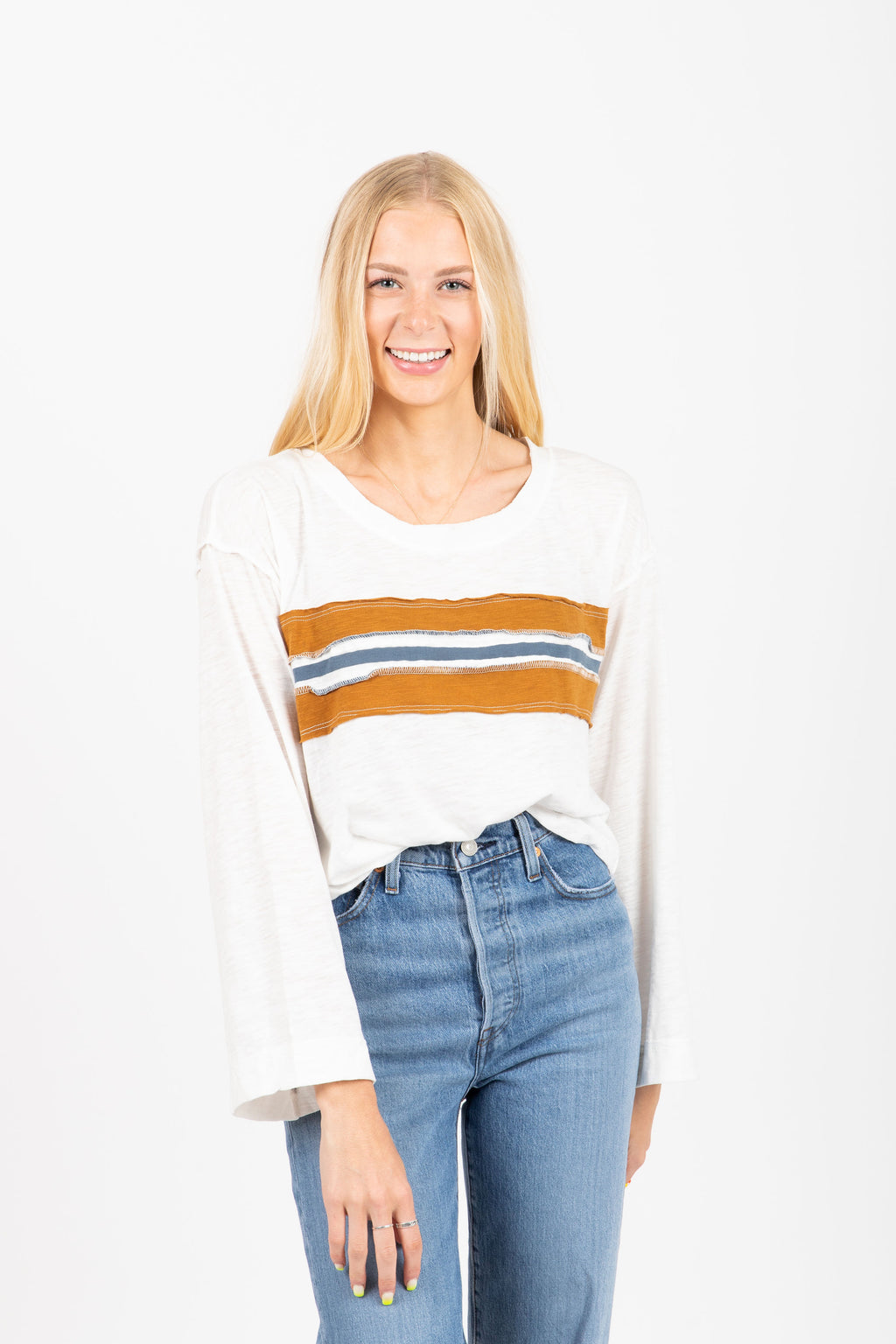 The Percy Striped Long Sleeve Tee in Taupe
