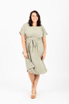 The Raymond Tie Dress in Olive