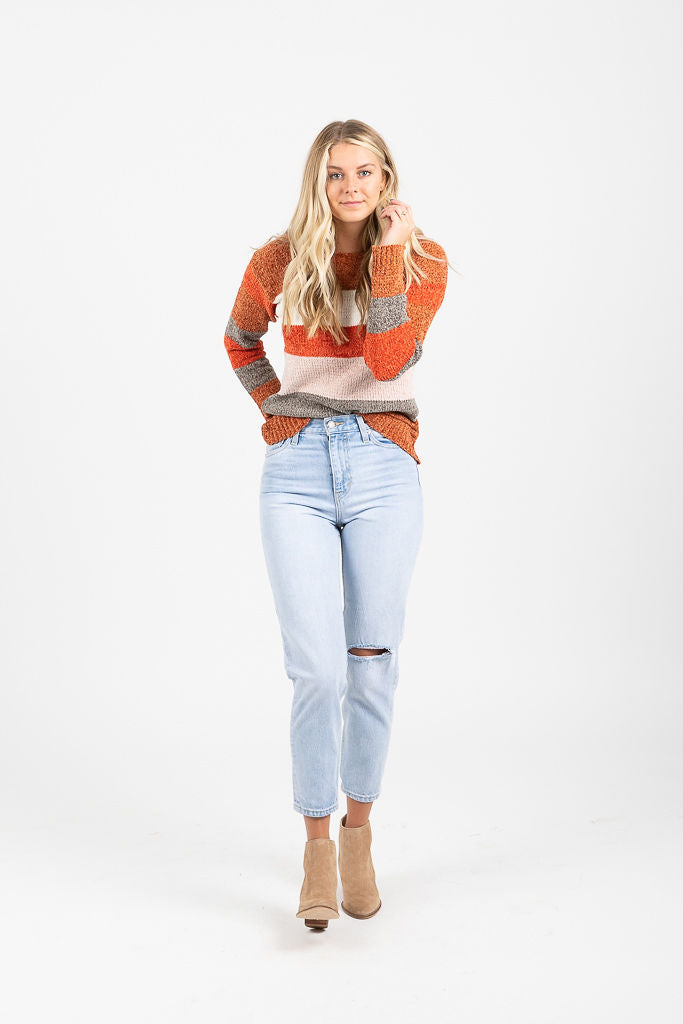 The Rochester Cozy Striped Sweater in Rust