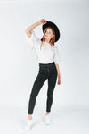 The Logan Puff Sleeve Blouse in White, studio shoot; front view