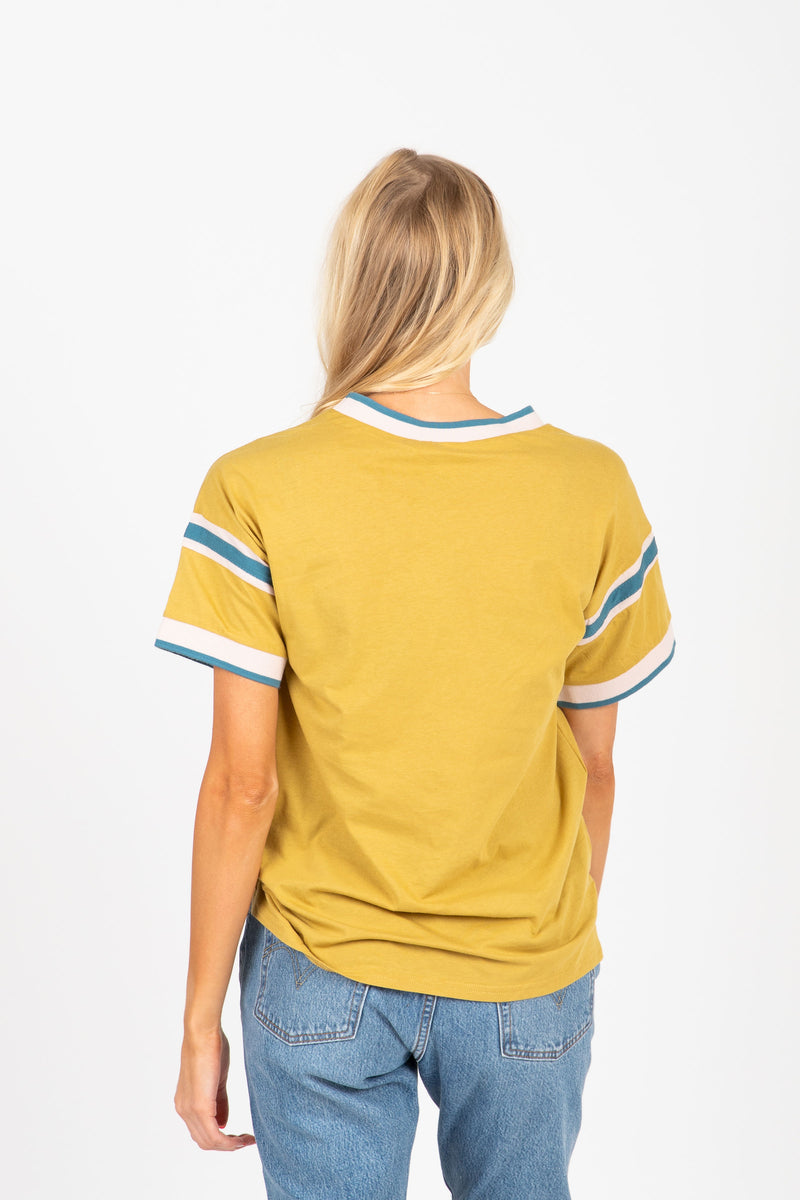 The Keene Striped Detail Tee in Citron, studio shoot; back view