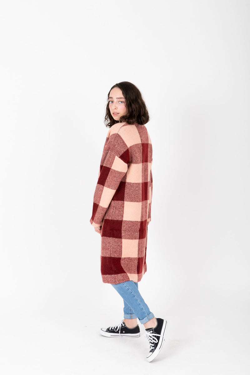 The Aldon Hooded Buffalo Cardigan in Burgundy, studio shoot; side view