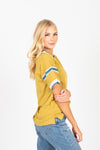 The Keene Striped Detail Tee in Citron, studio shoot; side view