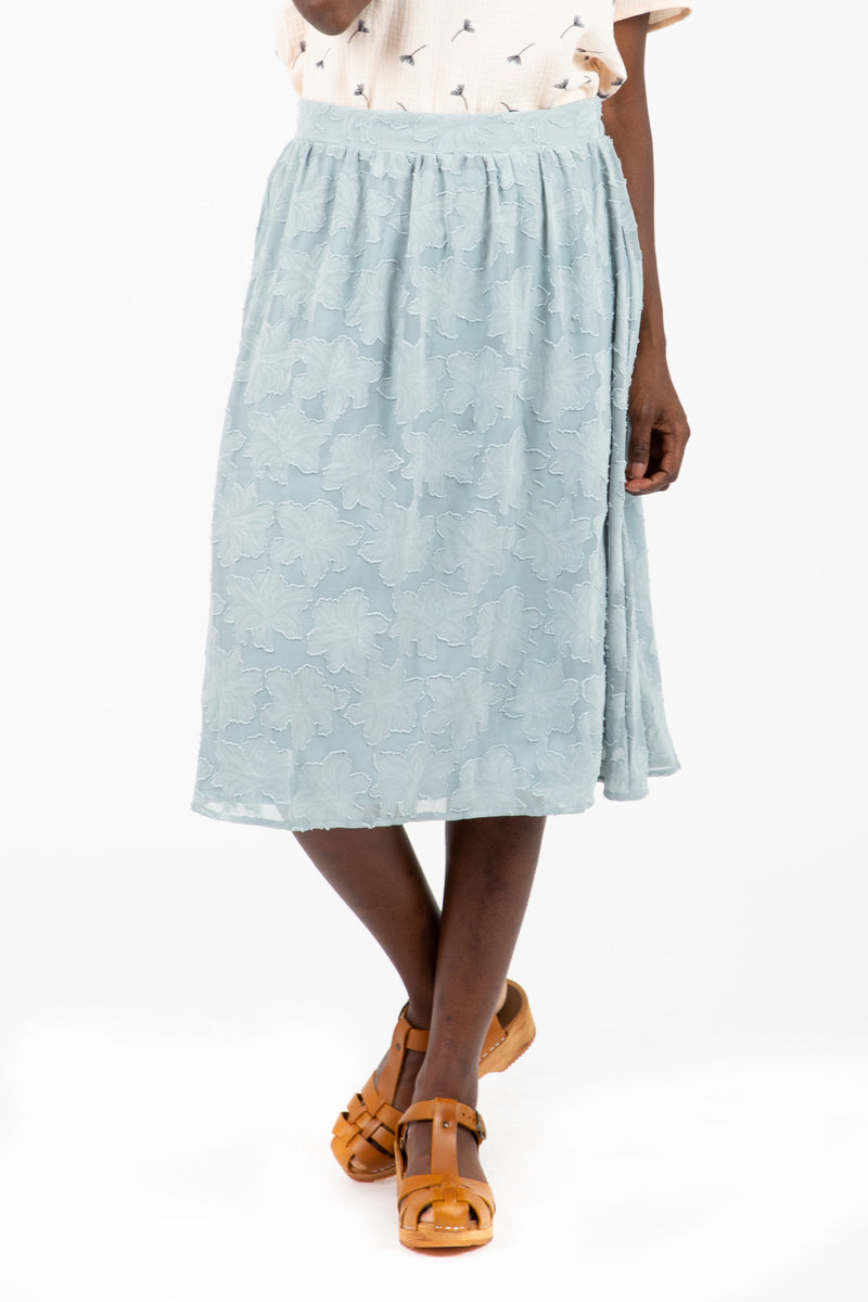 The Mallory Lace Midi Skirt in Light Blue