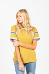 The Keene Striped Detail Tee in Citron, studio shoot; front view