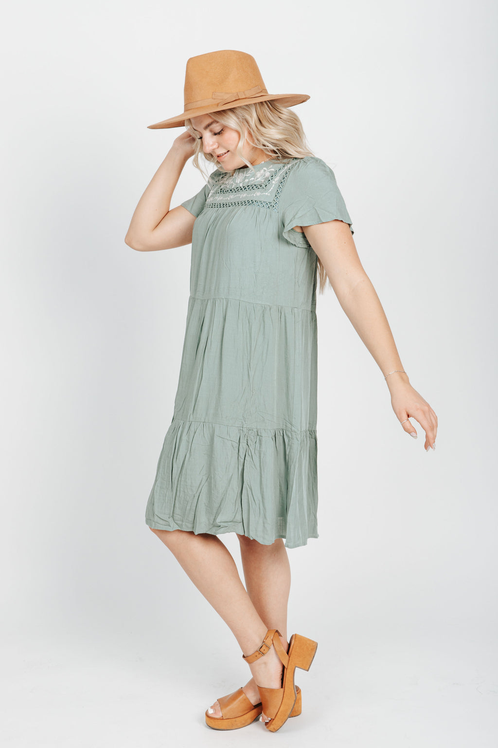 The Hannah Embroidered Tiered Dress in Sage