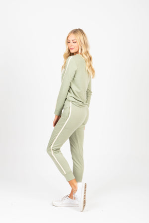 The Flora Loungewear Jogger Pants in Sage, studio shoot; side view