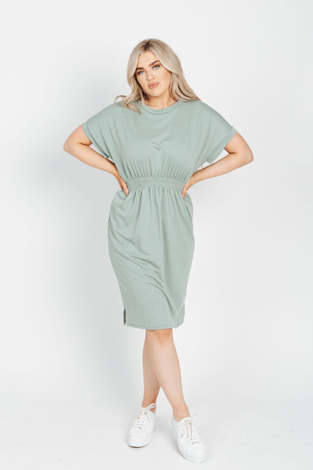 The Peter Casual Dress in Sage, studio shoot; front view