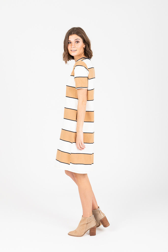 The Sylvania Striped Casual Dress in Taupe