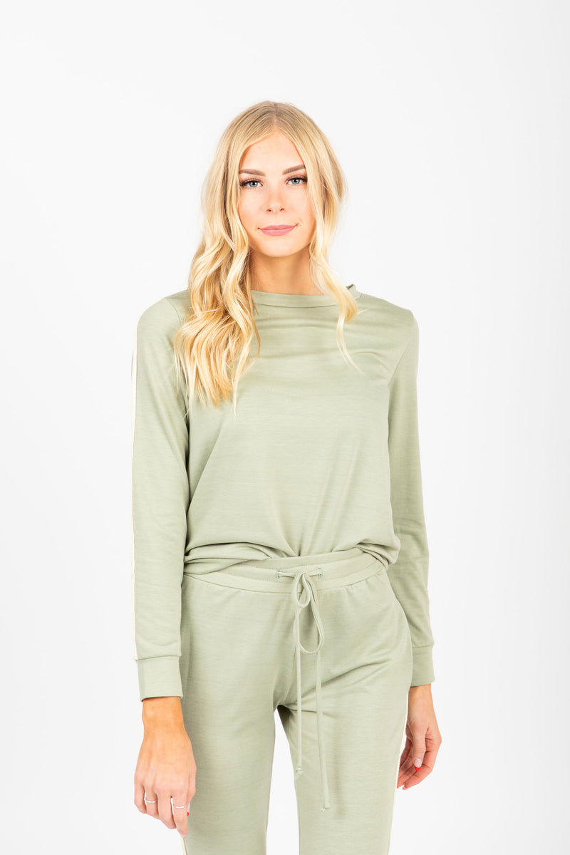 The Fauna Loungewear Top in Sage, studio shoot; front view