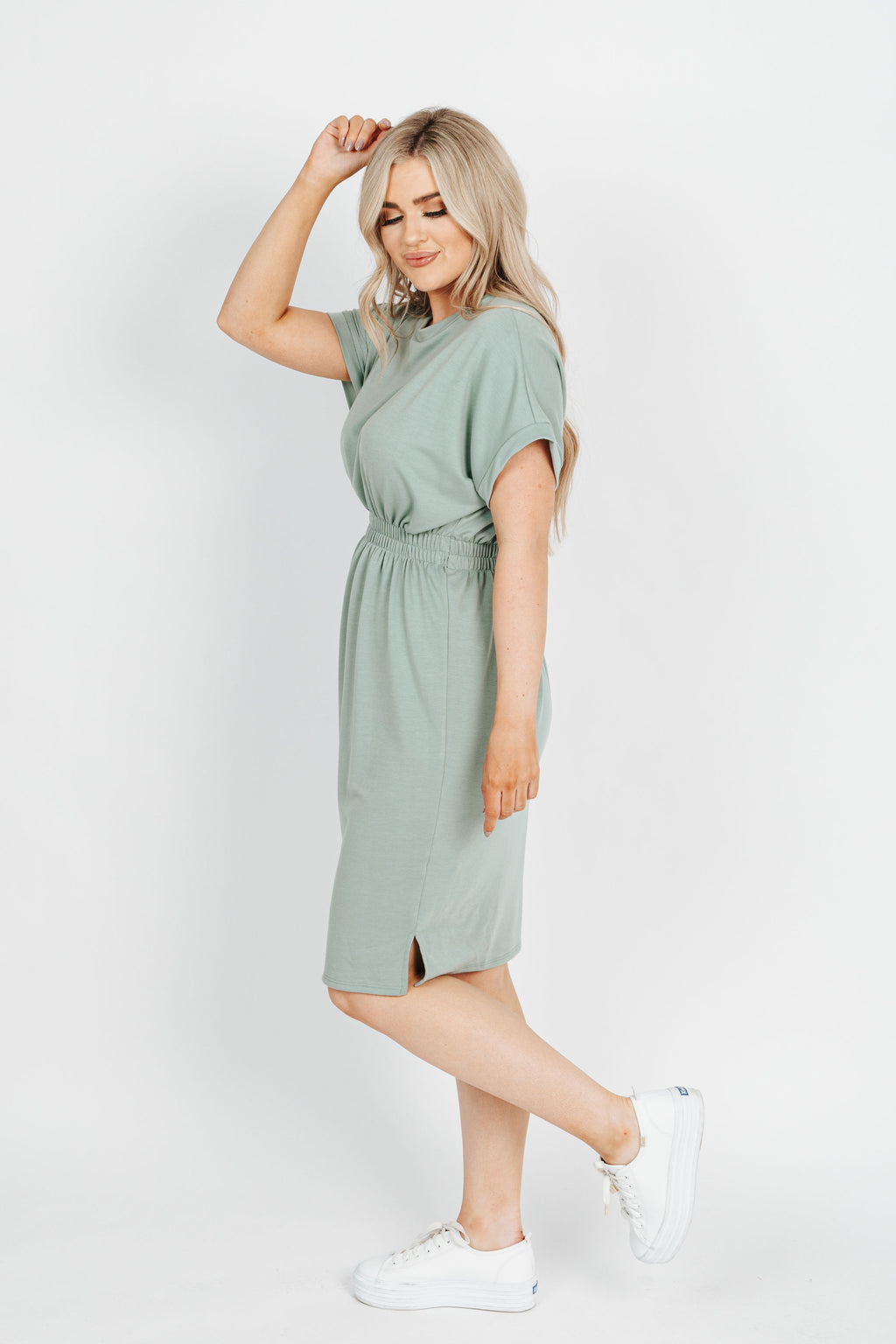 The Peter Casual Dress in Sage, studio shoot; side view