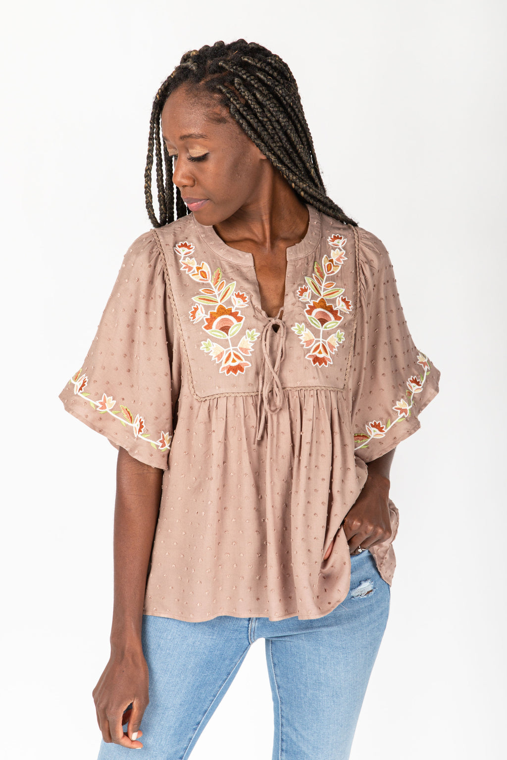 The Douglas Embroidered Swiss Dot Blouse in Taupe, studio shoot; front view