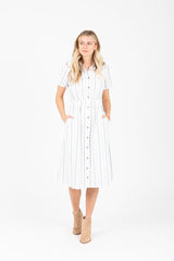 The McKell Button Down Dress in Spring Stripe