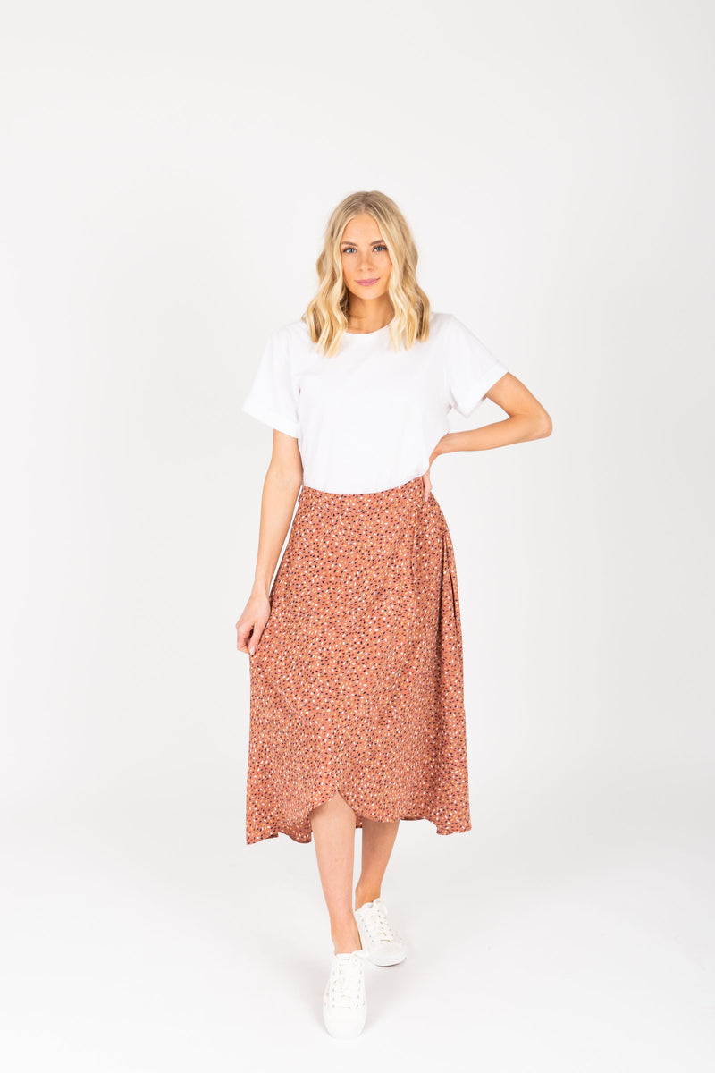 The Guiliana Patterned Wrap Skirt in Mauve, studio shoot; front view