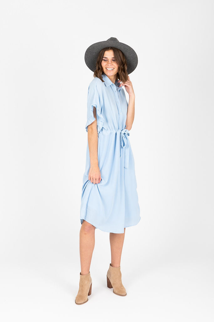 The Dwight Button Collared Dress in Sky