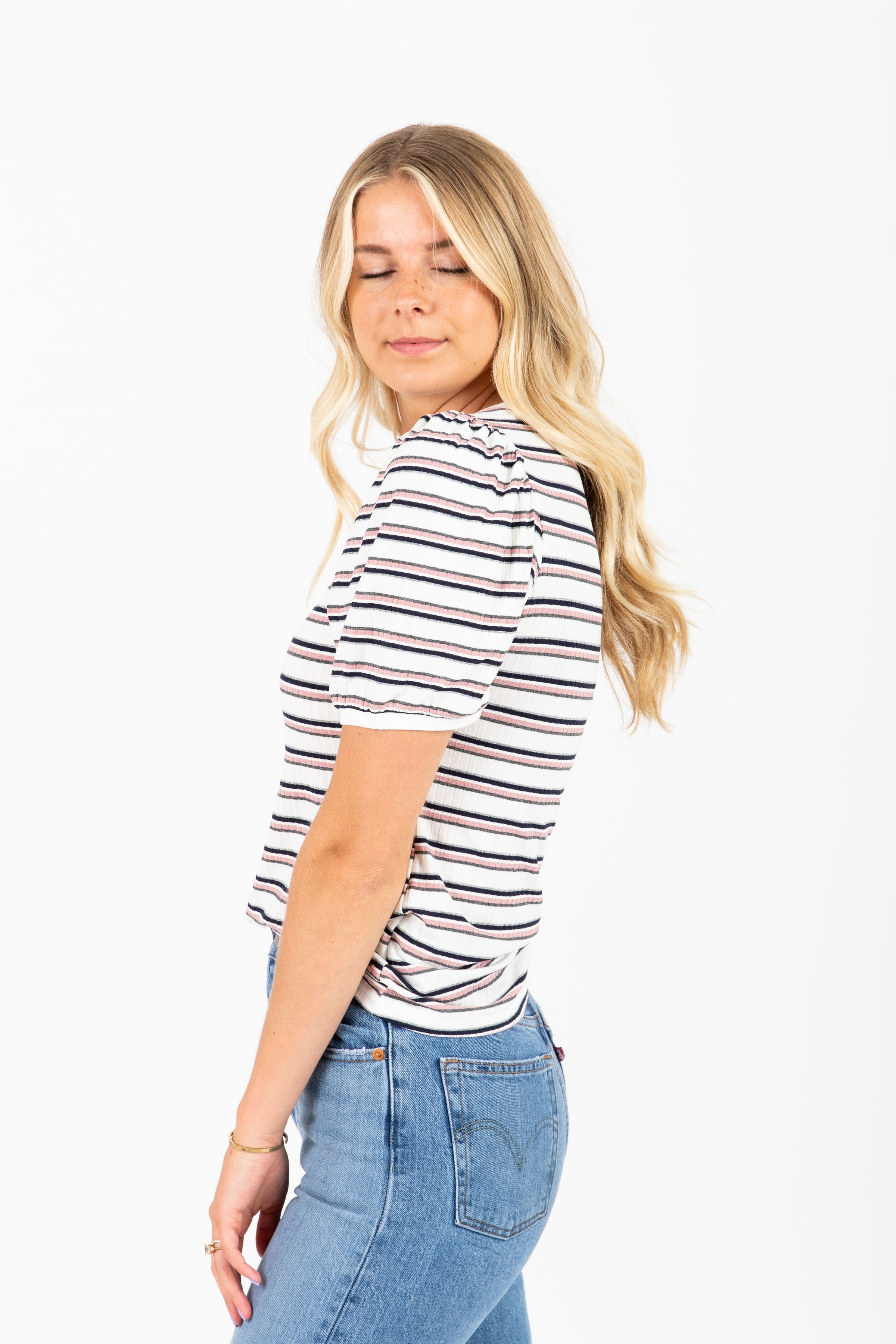 The Kelli Ribbed Striped Blouse in Blush