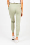 The Flora Loungewear Jogger Pants in Sage, studio shoot; back view