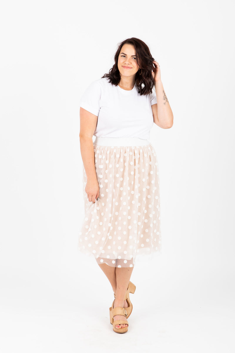 Piper & Scoot: The Legacy Dot Tulle Skirt in Cream