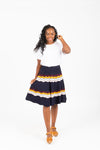 The Jenna Wave Knit Skirt in Navy, studio shoot; front view