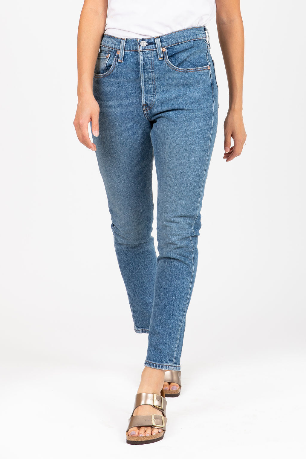 Levi's: 501 Skinny Jeans in Medium Wash Denim