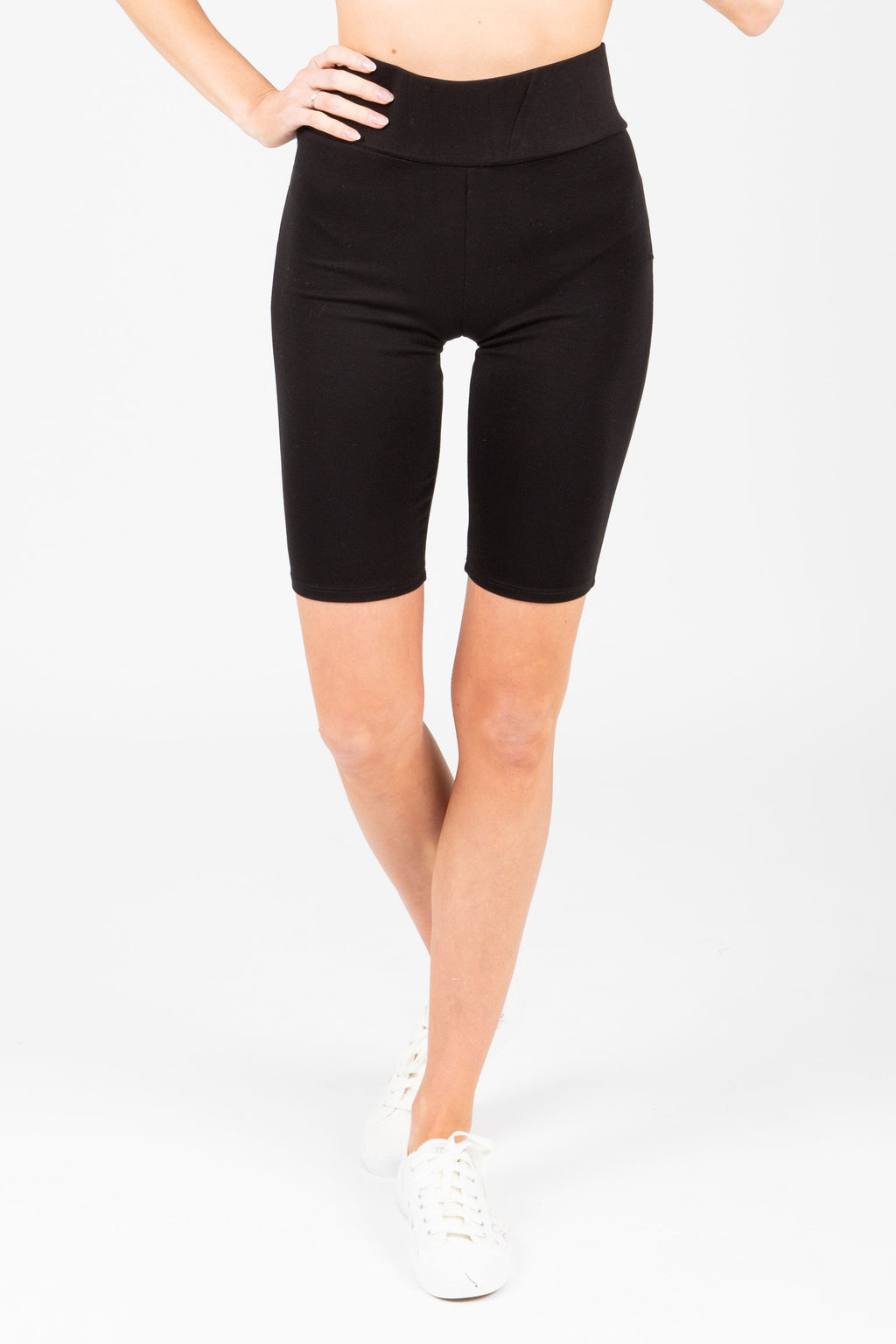 The Thick Knit Biker Short in Black, studio shoot; front view