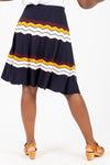 The Jenna Wave Knit Skirt in Navy, studio shoot; back view