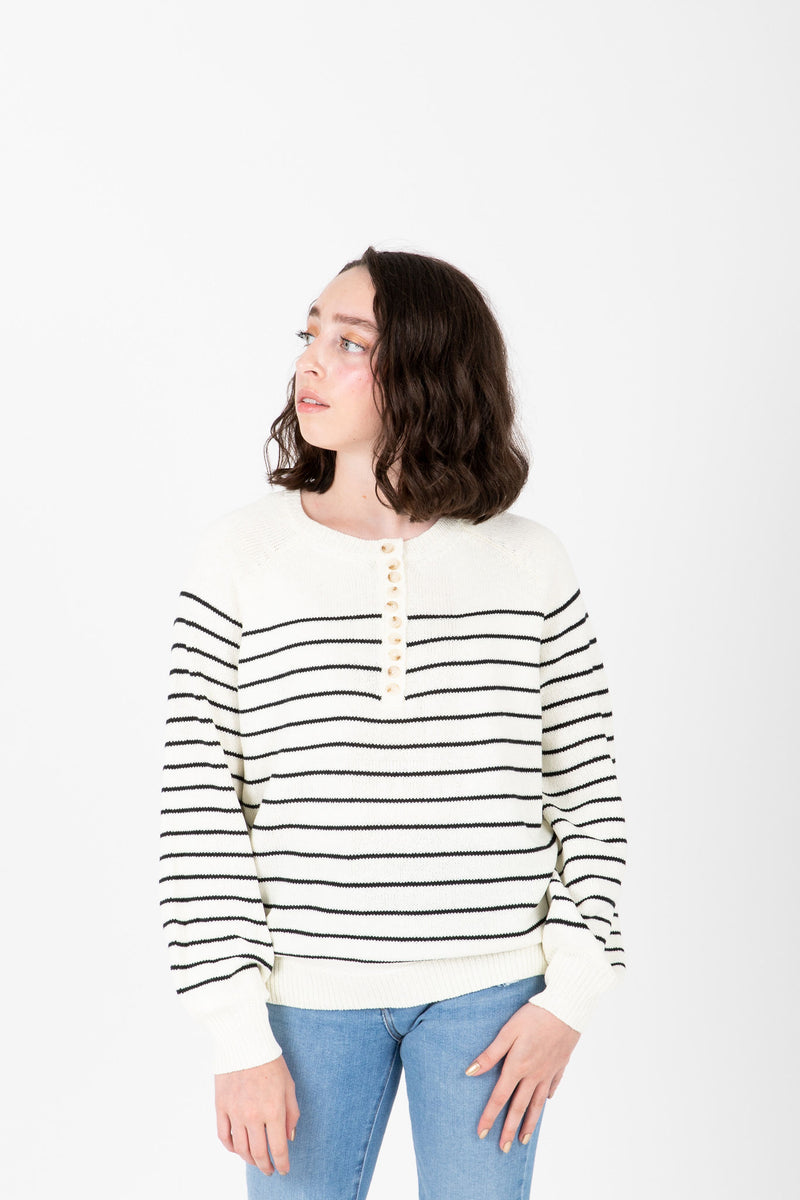 The Angelo Button Knit in Black Stripe