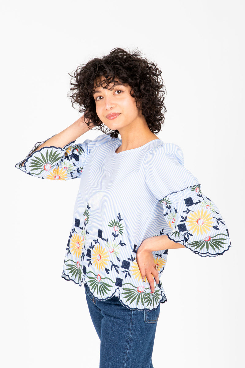 The Duncan Floral Embroidered Blouse in Sky Stripe