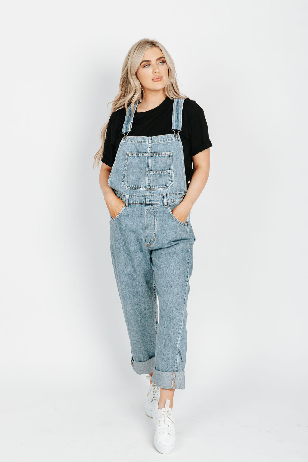 Free People: Ziggy Denim Overall in Powder Blue, studio shoot; front view