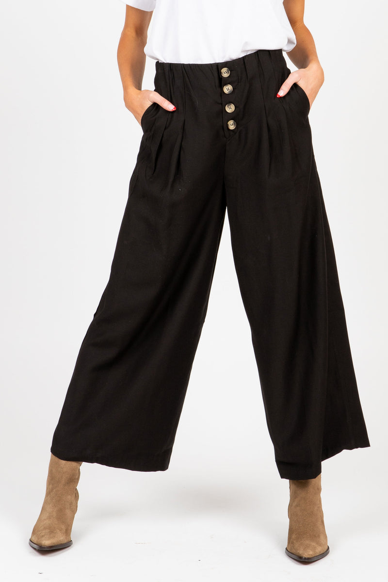 The Brady Button Culotte Trousers in Black