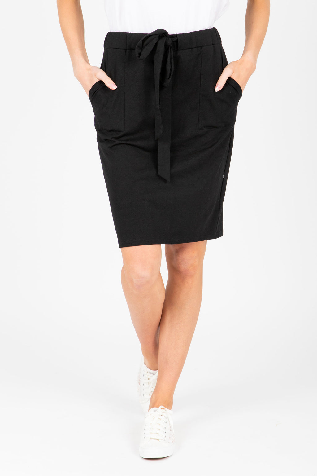 Piper & Scoot: The Mimi Cinch Casual Skirt in Black, studio shoot; front view