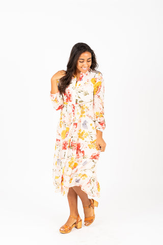 The Sequoia Floral Dress in Black