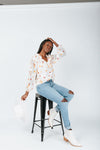 The Francis Floral Detail Blouse In Pink, studio shoot; front view
