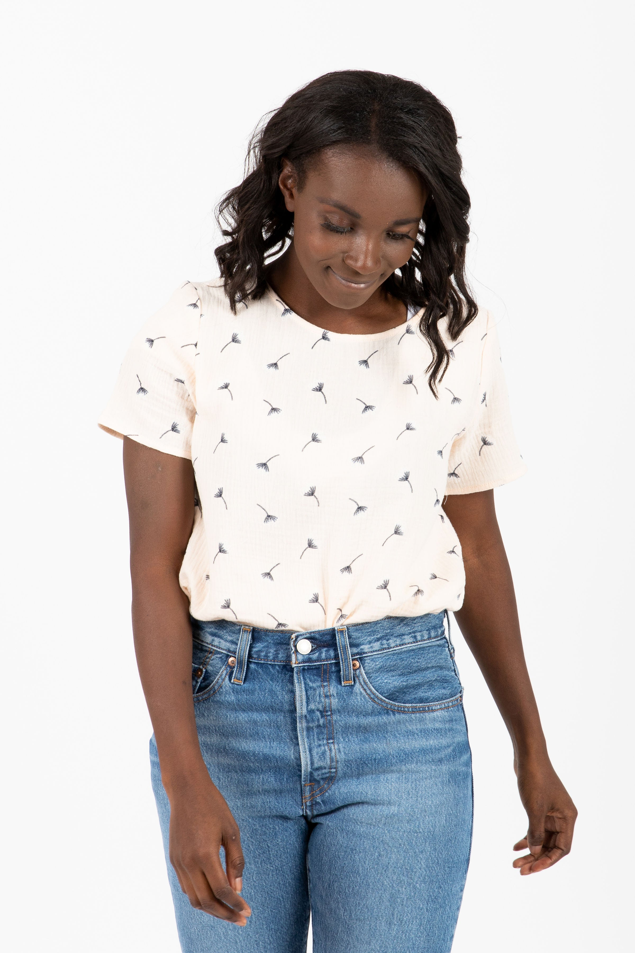 The Knight Gauze Printed Blouse in Cream